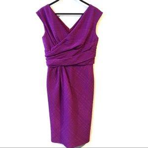 Oscar De La Renta Ruched Bodice Sleeveless Dress